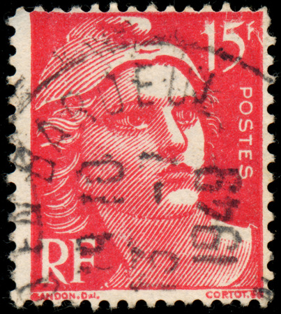 circa: FRANCE - CIRCA 1947: Stamp printed in France shows Marianne the national emblem of France, circa 1947