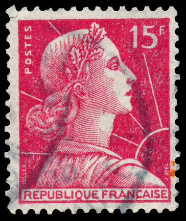 circa: FRANCE - CIRCA 1955: Stamp printed in France shows Marianne (Louis-Charles Muller design), circa 1955.
