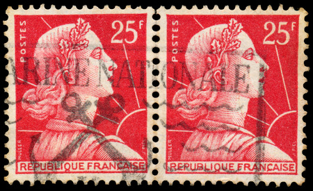 marianne: FRANCE - CIRCA 1959: Stamp printed in France shows Marianne (Louis-Charles Muller design), circa 1959.