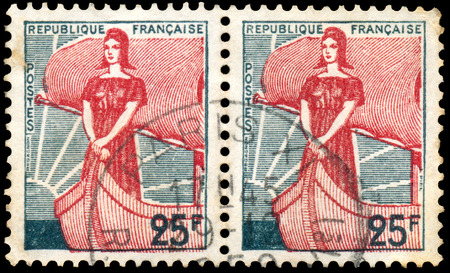 marianne: FRANCE - CIRCA 1959: Stamp printed in France shows Marianne in Ship of State, circa 1959.