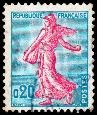 FRANCE - CIRCA 1960: Stamp printed in France shows Sower, circa 1960. photo