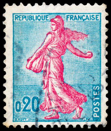 FRANKREICH - CIRCA 1960: Briefmarke in Frankreich gedruckt zeigt Sämann, circa 1960. Standard-Bild - 38636351