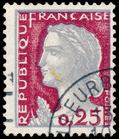 marianne: FRANCE - CIRCA 1960: Stamp printed in France shows Marianne, type Decaris, circa 1960 Editorial