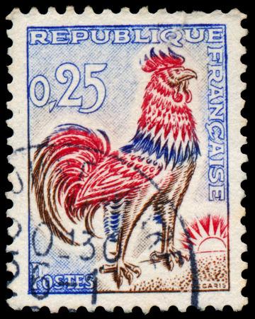 FRANCE - CIRCA 1962: Stamp imprimés en France, montre gauloise Cock, circa 1962 Banque d'images - 38635977