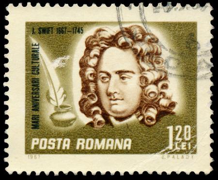 ROMANIA - CIRCA 1967: Stamp printed in Romania shows Jonathan Swift, the Irish satirist, essayist, political pamphleteer, poet and cleric, circa 1967