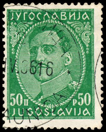 YUGOSLAVIA - CIRCA 1932: Stamp printed in Yugoslavia shows portrait king Alexander I (1888-1934),  from series King Alexander I, circa 1932
