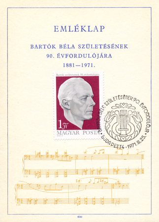 composer: HUNGARY - CIRCA 1971: Stamp printed in Hungary shows image issued for the 90th birth anniversary of the famous composer Bela Bartok on a postcard, circa 1971
