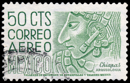 post stamp: MEXICO - CIRCA 1950: stamp printed in the Mexico shows Chiapas, Bas-relief Profile, Mayan Culture, circa 1950 Editorial