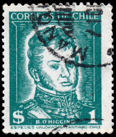 CHILE - CIRCA 1952: Stamp printed in Chile Bernardo OHiggins 1776-1842 Shows portrait of Chilean independence leader, circa 1952