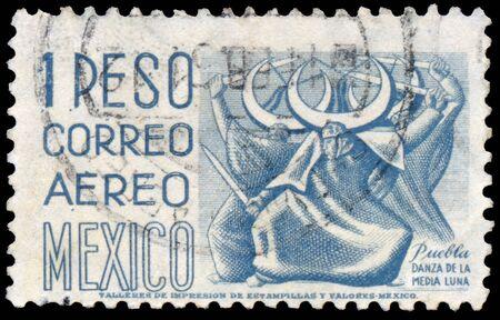 philately: MEXICO - CIRCA 1950: Stamp printed in Mexico, Puebla Shows, Dance of the Half Moon Correo Aero Mexico. Puebla de Danza La Media Luna, circa 1950