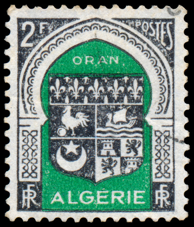 algiers: ALGERIA - CIRCA 1947: A stamp printed in Algeria from the Various Arms issue shows Algiers arms, circa 1947