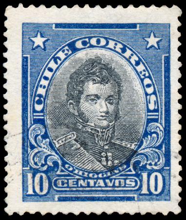 statesman: CHILE - CIRCA 1928: Stamp printed in Chile Bernardo OHiggins 1776-1842 Shows portrait of Chilean independence leader, circa 1928