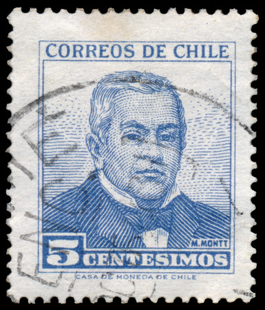 statesman: CHILE - CIRCA 1960: stamp printed in Chile, Francisco Antonio Shows portrait of Julian Manuel Montt Torres from 1809 to 1880 and was a Chilean scholar Statesman, circa 1960