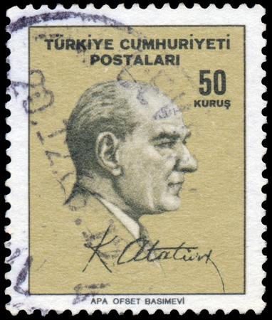mustafa: TURKEY - CIRCA 1965: Stamp printed in Turkey shows portrait of Mustafa Kemal Ataturk, circa 1965