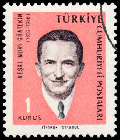 novelist: TURKEY - CIRCA 1965: Stamp printed by Turkey, shows Resat Nuri Guntekin, Novelist, circa 1965. Editorial
