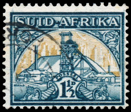 rsa: SOUTH AFRICA - CIRCA 1941: Stamp printed in South Africa shows Gold Mine Bilingual pair, circa 1941 Editorial