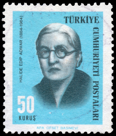 halide: TURKEY - CIRCA 1966: Stamp printed by Turkey, shows Halide Edip Adivar writer, circa 1966. Editorial