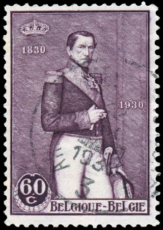 leopold: BELGIUM - CIRCA 1930: Stamp printed in the Belgium, shows painting of King Leopold II by Jef Leempoel, circa 1930