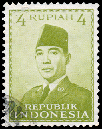 sukarno: INDONESIA - CIRCA 1951: Stamp printed in the Indonesia shows the first president of Indonesia Sukarno, circa 1951