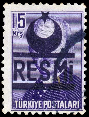 mustafa: TURKEY - CIRCA 1948: Stamp printed in Turkey shows Mustafa Ismet Inonu, circa 1948
