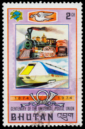 upu: BHUTAN - CIRCA 1974: Stamp printed in Bhutan from the 100th Anniversary of UPU  issue shows old and modern railway, circa 1974. Editorial