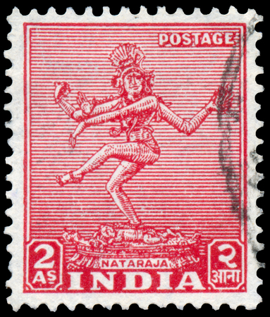 indian postal stamp: INDIA - CIRCA 1949: Stamp printed in India shows Nataraja, circa 1949.