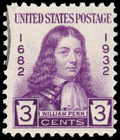 william penn: UNITED STATES OF AMERICA - CIRCA 1932 - Stamp printed in USA shows William Penn - an English real estate entrepreneur, philosopher, and founder of the Province of Pennsylvania, circa 1932