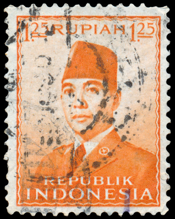 sukarno: INDONESIA - CIRCA 1953: Stamp printed in the Indonesia shows the first president of Indonesia Sukarno, circa 1953 Editorial