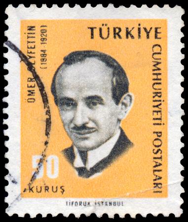 novelist: TURKEY - CIRCA 1965: Stamp printed by Turkey, shows Omer Seyfettin, novelist, circa 1965. Editorial