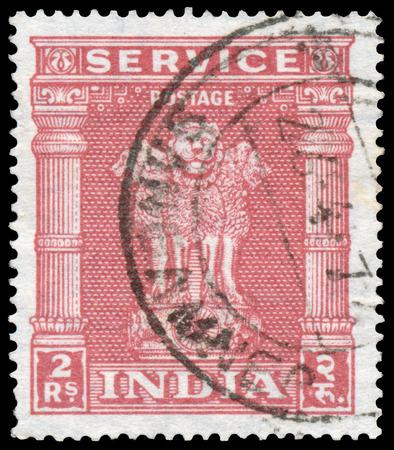 INDIA - CIRCA 1950: Stamp printed in India shows four Indian lions capital of Ashoka Pillar, circa 1950. Editorial