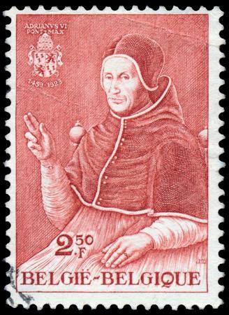 paulus: BELGIUM - CIRCA 1959: Stamp printed in the Belgium, shows Paulus Adrianus VI, circa 1959