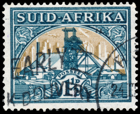 bilingual: SOUTH AFRICA - CIRCA 1941: Stamp printed in South Africa shows Gold Mine Bilingual pair, circa 1941 Editorial