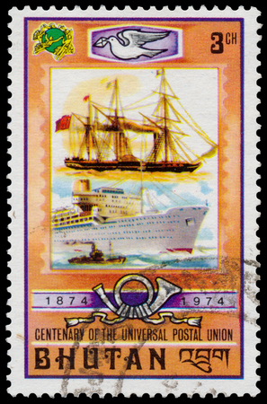 upu: Bhutan - CIRCA 1974: Stamp printed in Bhutan from the 100th Anniversary of UPU issue Shows old and modern ship, circa 1974th