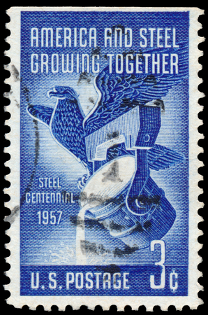 centennial: USA - CIRCA 1957: Commemorative stamp celebrating Steel industry centennial. circa 1957 in USA
