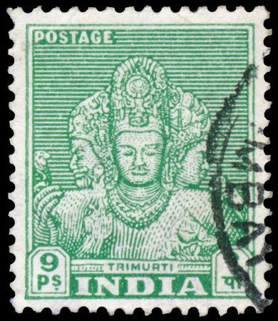 trimurti: INDIA - CIRCA 1949: Stamp printed by India, shows faces of Trimurti, circa 1949 Editorial