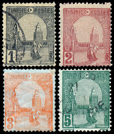 circa: TUNISIA - CIRCA 1906: Set of stamps printed in Tunis, the Great Mosque of Kairouan built Shows 836-862, circa 1906