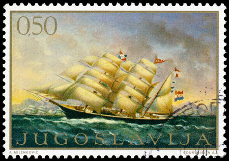 YUGOSLAVIA - CIRCA 1969: a stamp printed in Yugoslavia shows Ship Painting, circa 1969 Editorial