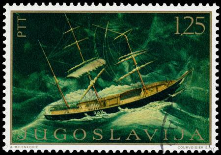 yugoslavia: YUGOSLAVIA - CIRCA 1969: a stamp printed in Yugoslavia shows Ship Painting, circa 1969 Editorial