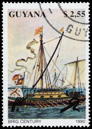 brig ship: GUYANA - CIRCA 1990: a stamp printed in Guyana shows Brig Century Ship, circa 1990 Editorial