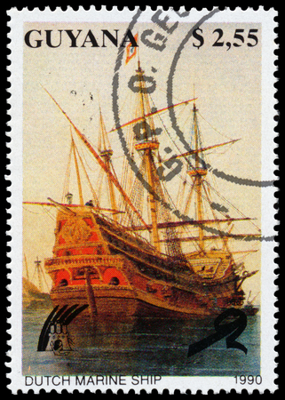poststempel: GUYANA - CIRCA 1990: a stamp printed in Guyana shows Dutch Marine Ship, circa 1990