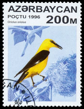 circa: AZERBAIJAN - CIRCA 1996: a stamp printed in Azerbaijan shows Oriolus oriolus