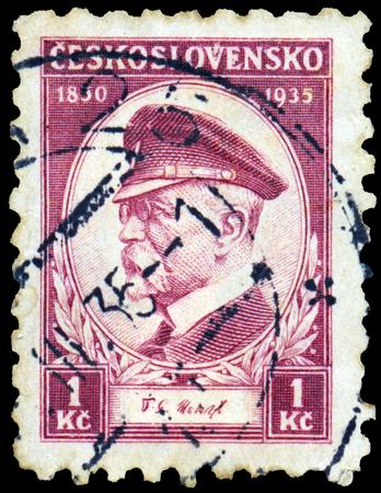 czechoslovakia: CZECHOSLOVAKIA - CIRCA 1935: a stamp printed in Czechoslovakia, shows President Masaryk