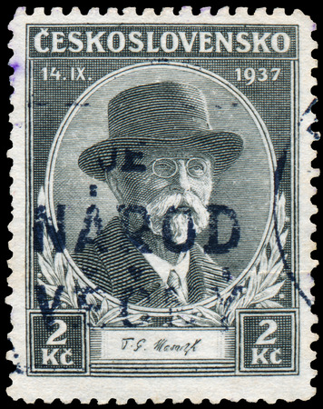sociologist: CZECHOSLOVAKIA - CIRCA 1937: a stamp printed by Czechoslovakia, shows President Masaryk Editorial
