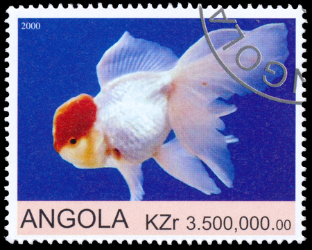 philatelic: ANGOLA - CIRCA 2000: a stamp printed by Angola shows Goldfish