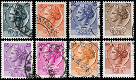 turreted: ITALY - CIRCA 1953: stamps printed in Italy show Italia Turrita