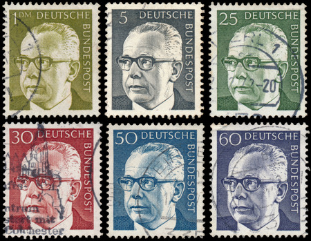 bundespost: GERMANY - CIRCA 1970: stamps printed in Germany, show portrait of Gustav Walter Heinemann