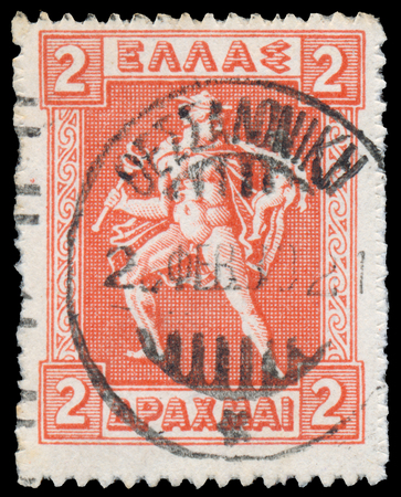 GREECE - CIRCA 1911: a stamps printed in Greece, Hermes Carrying Shows Infant Arcas Sajtókép