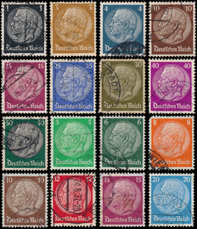 GERMANY - CIRCA 1934: stamps printed in Germany show portrait of Paul von Hindenburg