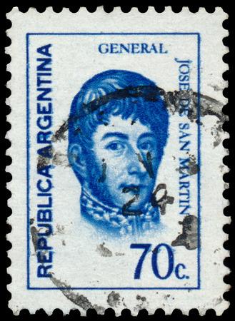 jose de san martin: ARGENTINA - CIRCA 1973: a stamp printed by Argentina, shows General Jose de San Martin Editorial