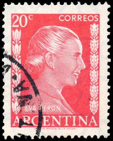 evita: ARGENTINA - CIRCA 1952: a stamp printed in Argentina shows Eva Peron